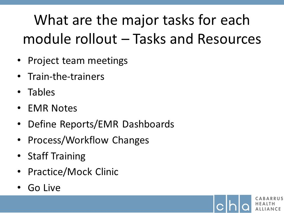 What are the major tasks for each module rollout – Tasks and Resources Project team meetings Train-the-trainers Tables EMR Notes Define Reports/EMR Dashboards Process/Workflow Changes Staff Training Practice/Mock Clinic Go Live