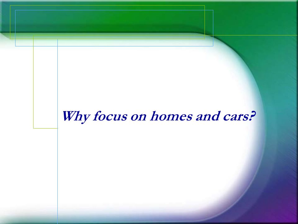 Why focus on homes and cars?