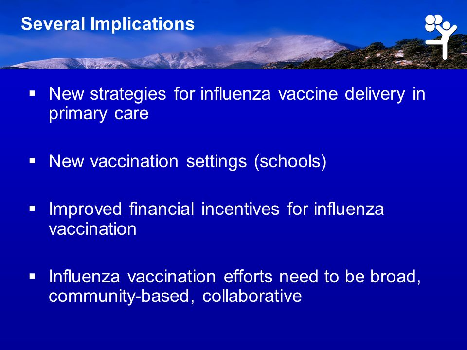 Several Implications New strategies for influenza vaccine delivery in primary care New vaccination settings (schools) Improved financial incentives fo