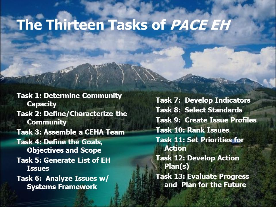 The Thirteen Tasks of PACE EH Task 1: Determine Community Capacity Task 2: Define/Characterize the Community Task 3: Assemble a CEHA Team Task 4: Define the Goals, Objectives and Scope Task 5: Generate List of EH Issues Task 6: Analyze Issues w/ Systems Framework Task 7: Develop Indicators Task 8: Select Standards Task 9: Create Issue Profiles Task 10: Rank Issues Task 11: Set Priorities for Action Task 12: Develop Action Plan(s) Task 13: Evaluate Progress and Plan for the Future