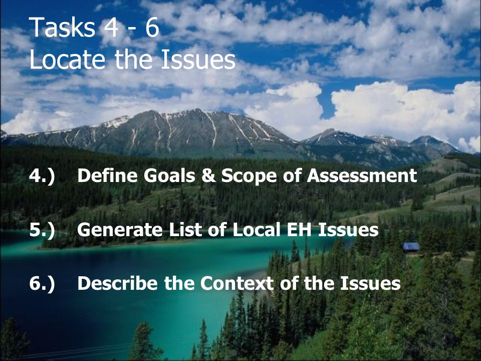 Tasks 4 - 6 Locate the Issues 4.)Define Goals & Scope of Assessment 5.)Generate List of Local EH Issues 6.)Describe the Context of the Issues