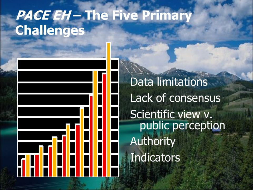PACE EH – The Five Primary Challenges Data limitations Lack of consensus Scientific view v.