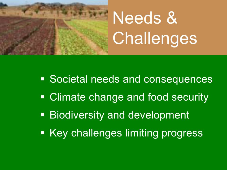 Needs & Challenges Societal needs and consequences Climate change and food security Biodiversity and development Key challenges limiting progress