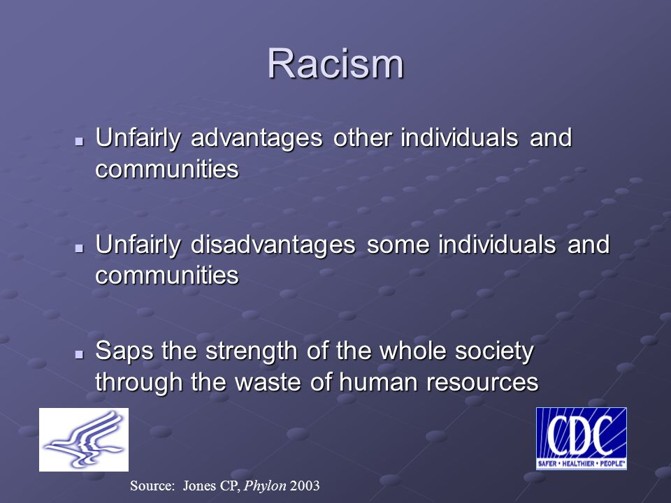 Racism Unfairly advantages other individuals and communities Unfairly advantages other individuals and communities Unfairly disadvantages some individuals and communities Unfairly disadvantages some individuals and communities Saps the strength of the whole society through the waste of human resources Saps the strength of the whole society through the waste of human resources Source: Jones CP, Phylon 2003