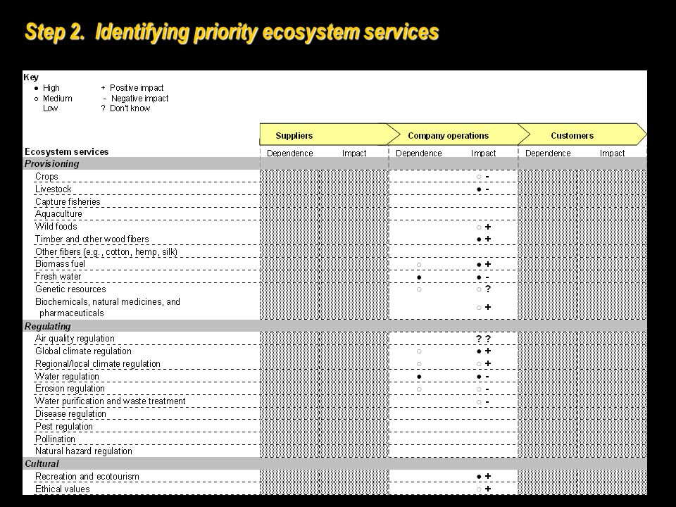 Step 2. Identifying priority ecosystem services