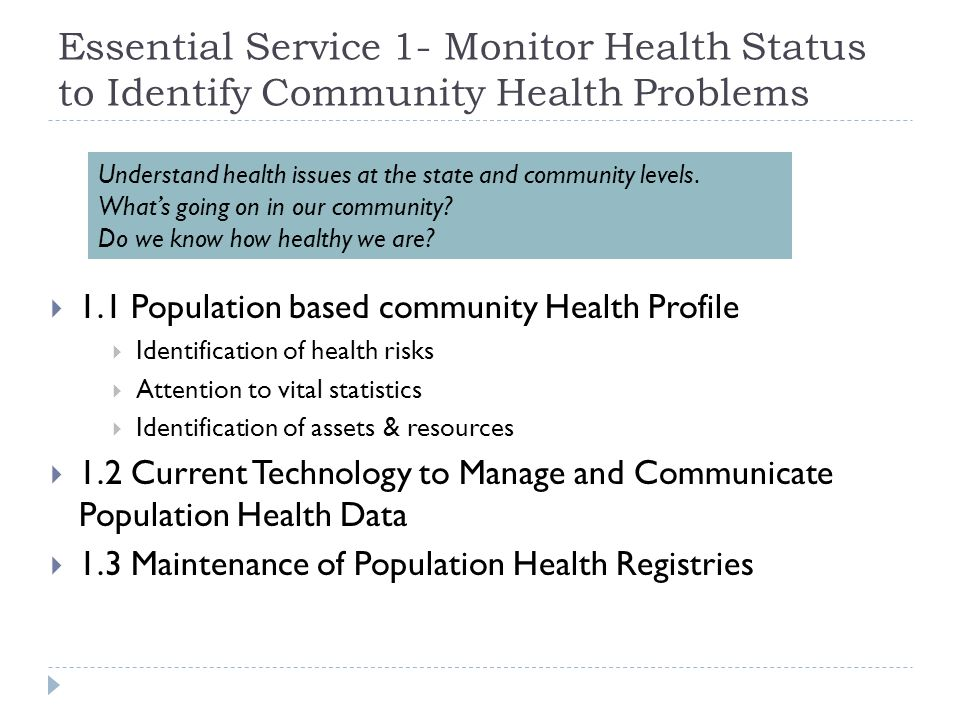 Essential Service 1- Monitor Health Status to Identify Community Health Problems 1.1 Population based community Health Profile Identification of healt