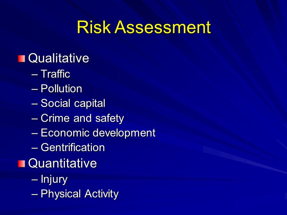 Risk Assessment Qualitative –Traffic –Pollution –Social capital –Crime and safety –Economic development –Gentrification Quantitative –Injury –Physical