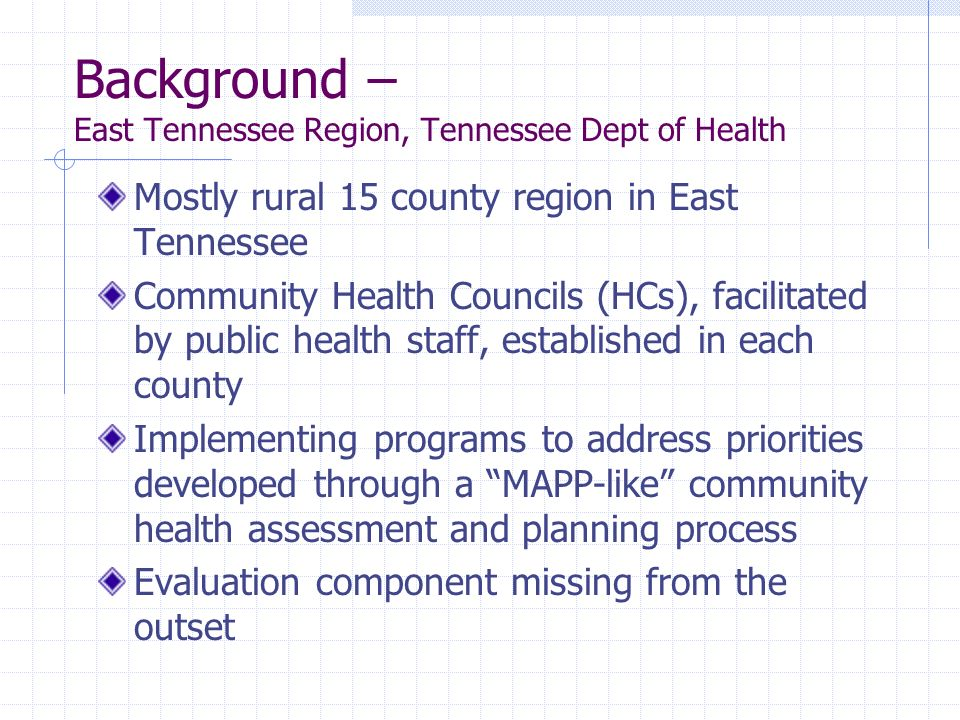 Background – East Tennessee Region, Tennessee Dept of Health Mostly rural 15 county region in East Tennessee Community Health Councils (HCs), facilita