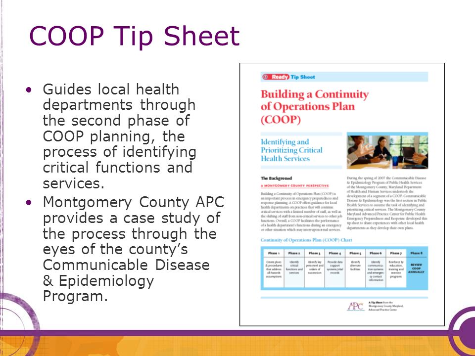 COOP Tip Sheet Guides local health departments through the second phase of COOP planning, the process of identifying critical functions and services.