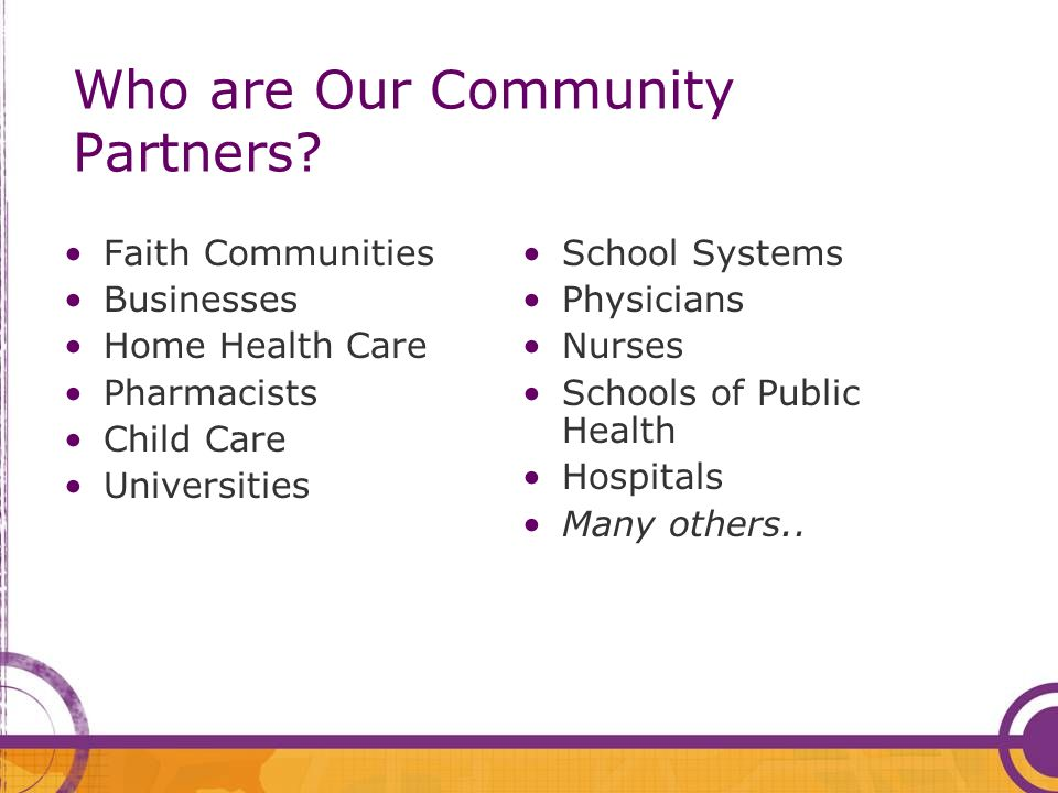 Who are Our Community Partners.