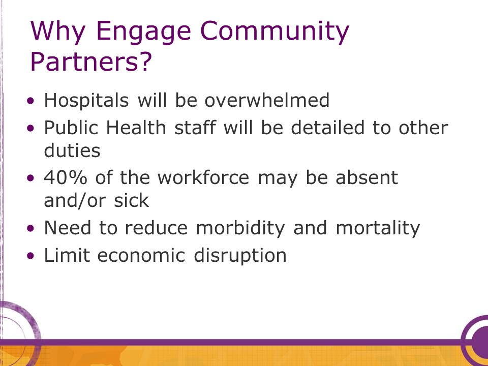 Hospitals will be overwhelmed Public Health staff will be detailed to other duties 40% of the workforce may be absent and/or sick Need to reduce morbidity and mortality Limit economic disruption Why Engage Community Partners
