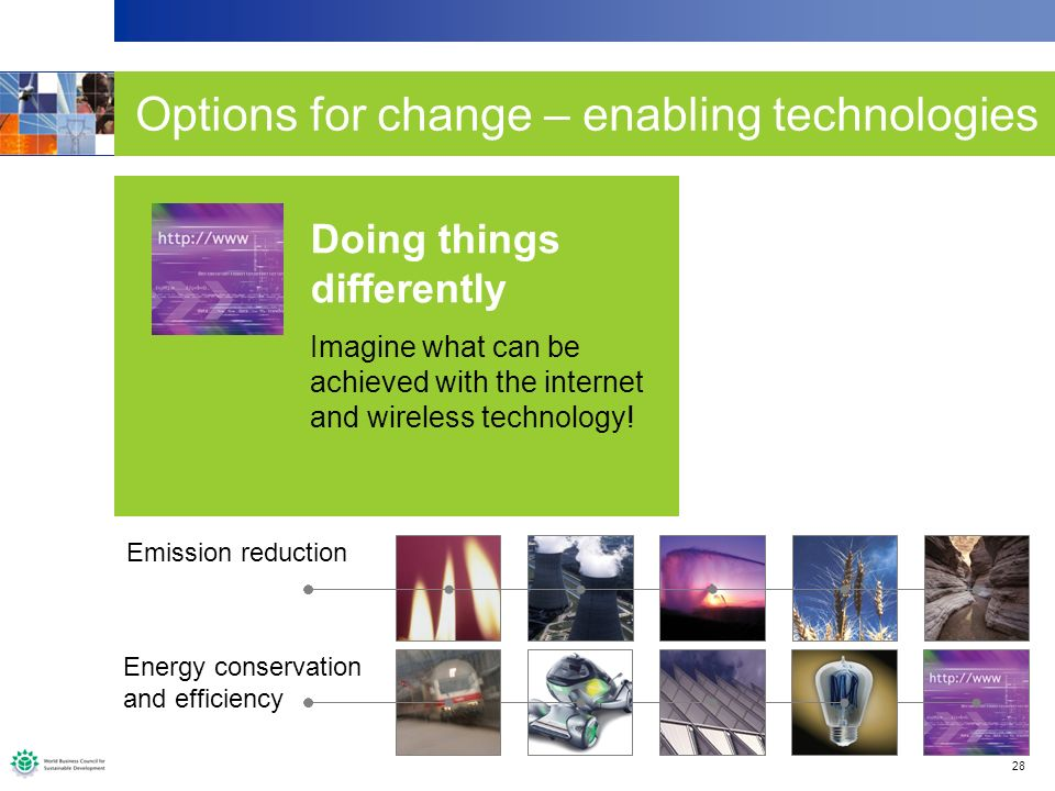 28 Options for change – enabling technologies A further shift to natural gas 1400 1 GW CCGT rather than 700 conventional coal fired plants means 1 Gt less carbon emissions per annum.