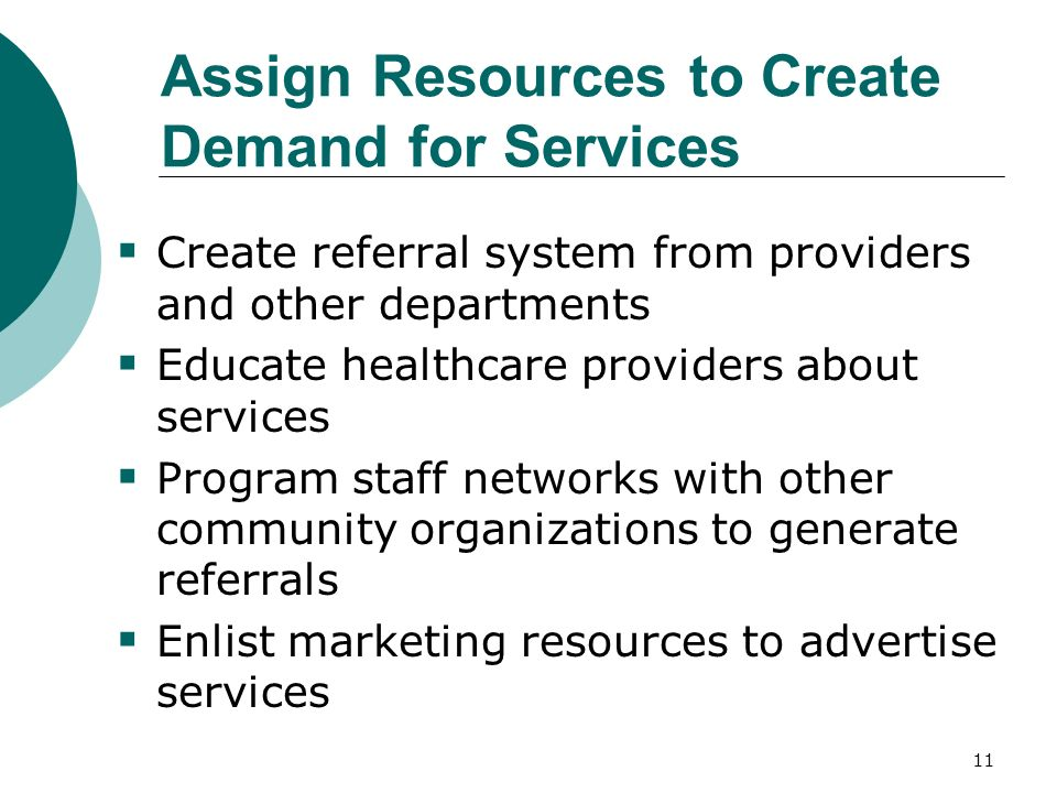 11 Assign Resources to Create Demand for Services Create referral system from providers and other departments Educate healthcare providers about services Program staff networks with other community organizations to generate referrals Enlist marketing resources to advertise services