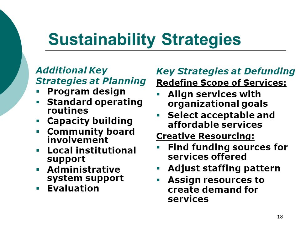 18 Sustainability Strategies Key Strategies at Defunding Redefine Scope of Services: Align services with organizational goals Select acceptable and affordable services Creative Resourcing: Find funding sources for services offered Adjust staffing pattern Assign resources to create demand for services Additional Key Strategies at Planning Program design Standard operating routines Capacity building Community board involvement Local institutional support Administrative system support Evaluation