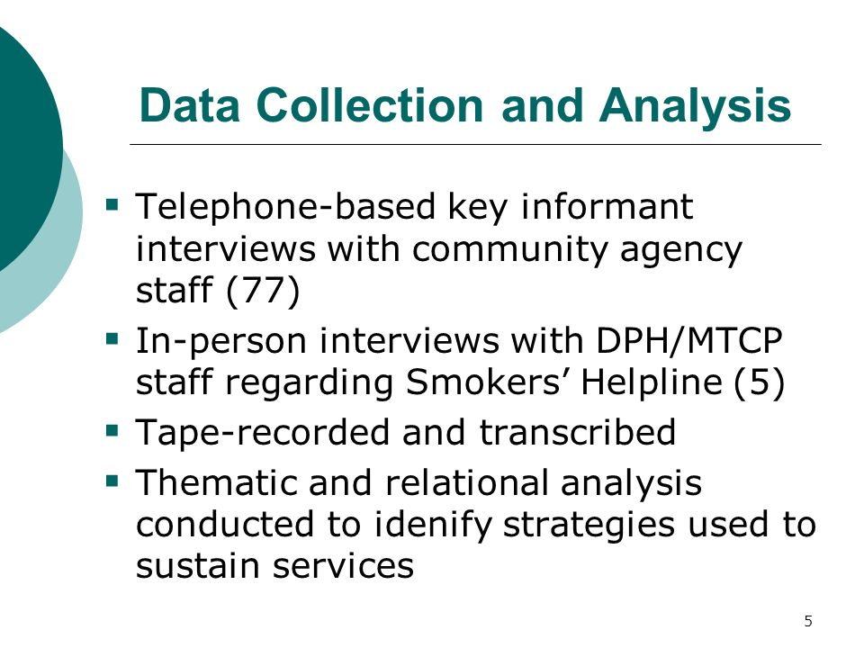 5 Data Collection and Analysis Telephone-based key informant interviews with community agency staff (77) In-person interviews with DPH/MTCP staff regarding Smokers Helpline (5) Tape-recorded and transcribed Thematic and relational analysis conducted to idenify strategies used to sustain services