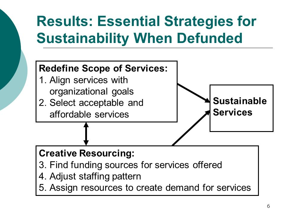 6 Results: Essential Strategies for Sustainability When Defunded Redefine Scope of Services: 1.Align services with organizational goals 2.Select acceptable and affordable services Creative Resourcing: 3.Find funding sources for services offered 4.Adjust staffing pattern 5.Assign resources to create demand for services Sustainable Services