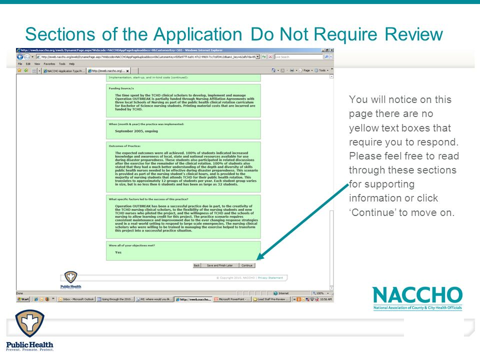 March - April 2010 Sections of the Application Do Not Require Review You will notice on this page there are no yellow text boxes that require you to respond.