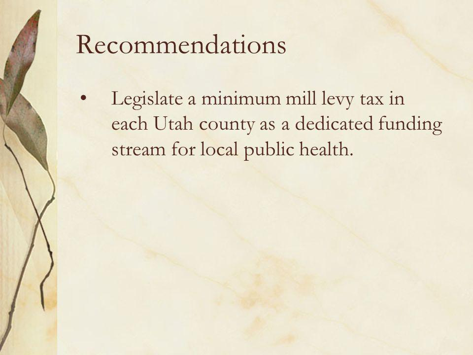 Recommendations Legislate a minimum mill levy tax in each Utah county as a dedicated funding stream for local public health.