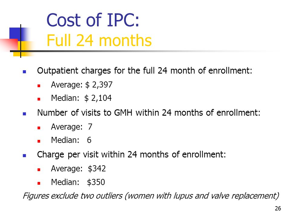26 Cost of IPC: Full 24 months Outpatient charges for the full 24 month of enrollment: Average: $ 2,397 Median: $ 2,104 Number of visits to GMH within