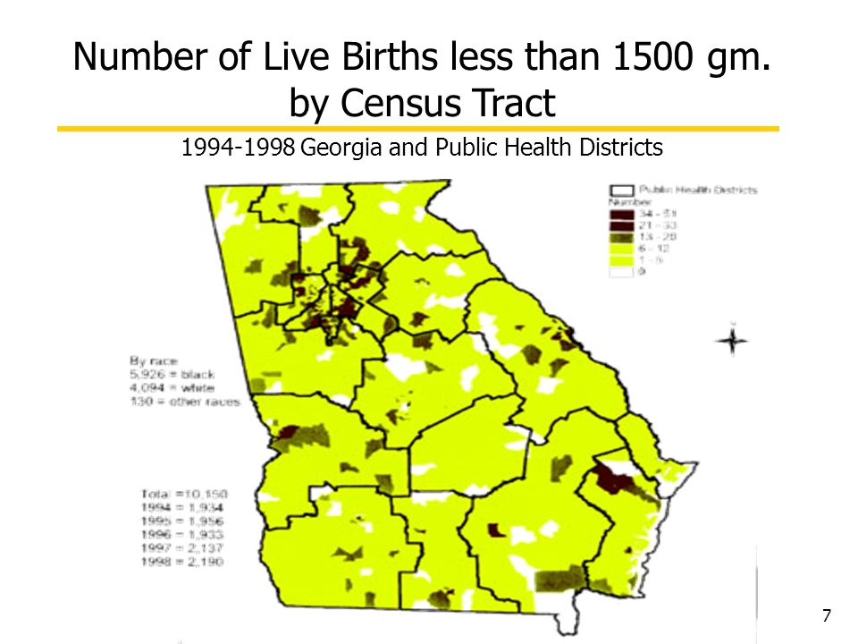 7 Number of Live Births less than 1500 gm. by Census Tract 1994-1998 Georgia and Public Health Districts