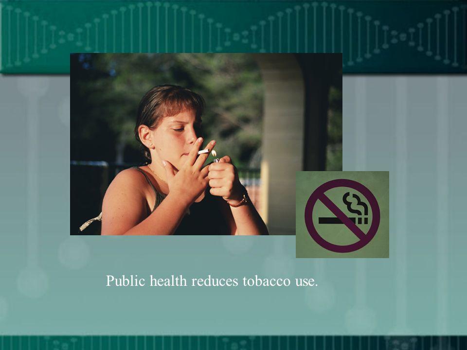 Public health reduces tobacco use.