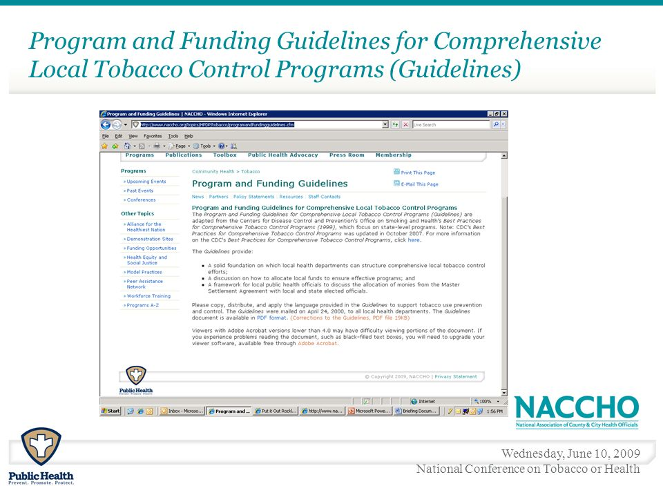 Wednesday, June 10, 2009 National Conference on Tobacco or Health Program and Funding Guidelines for Comprehensive Local Tobacco Control Programs (Guidelines)