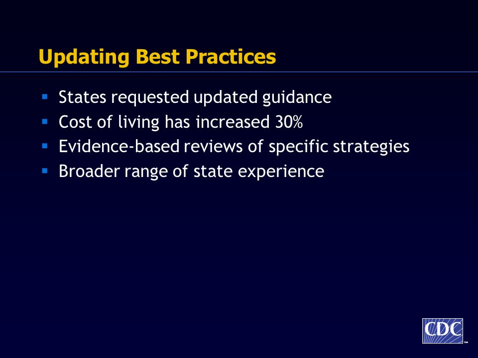 TM Updating Best Practices States requested updated guidance Cost of living has increased 30% Evidence-based reviews of specific strategies Broader range of state experience