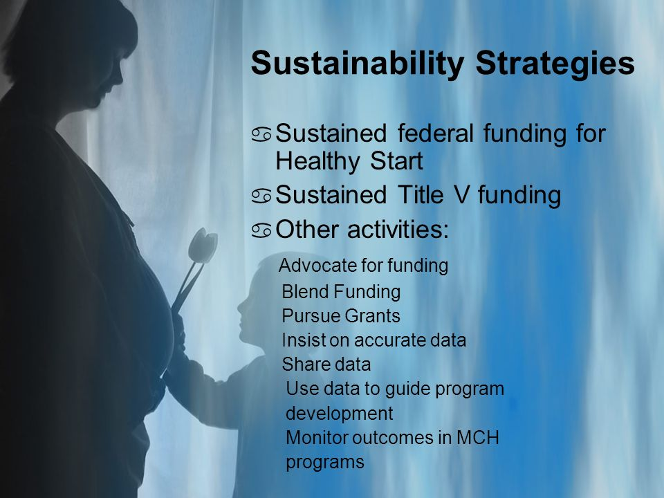 Sustainability Strategies a Sustained federal funding for Healthy Start a Sustained Title V funding a Other activities: Advocate for funding Blend Funding Pursue Grants Insist on accurate data Share data Use data to guide program development Monitor outcomes in MCH programs