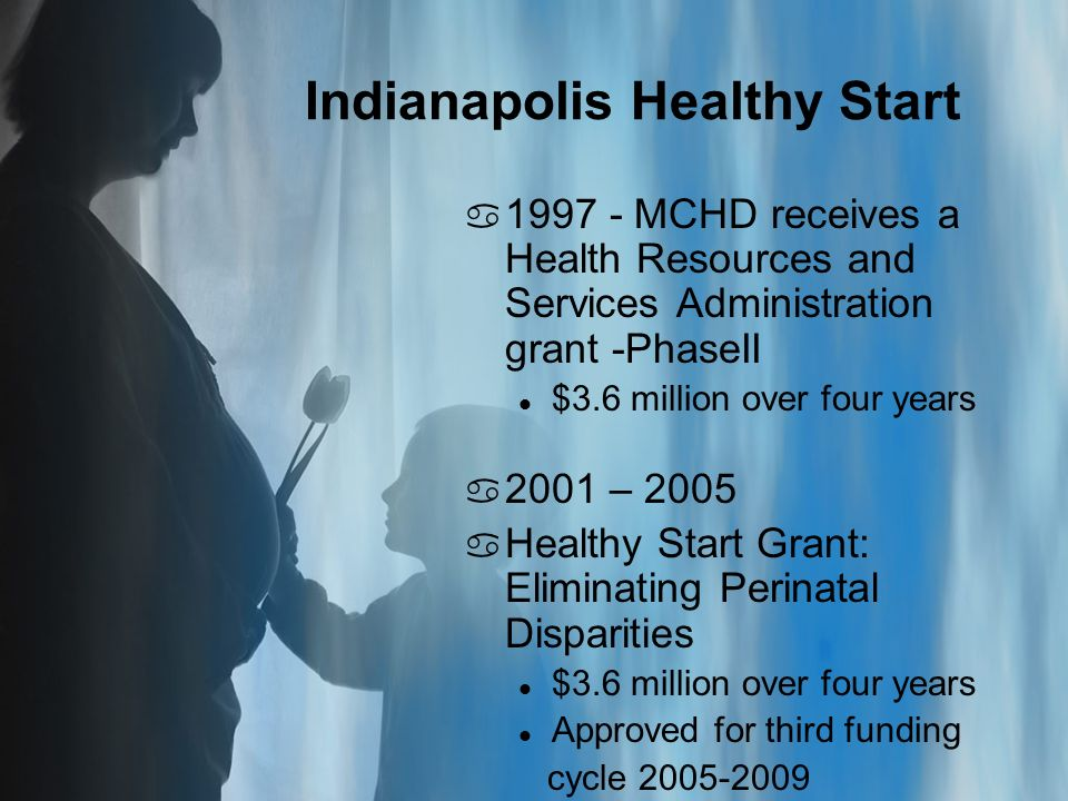Indianapolis Healthy Start a MCHD receives a Health Resources and Services Administration grant -PhaseII l $3.6 million over four years a 2001 – 2005 a Healthy Start Grant: Eliminating Perinatal Disparities l $3.6 million over four years l Approved for third funding cycle