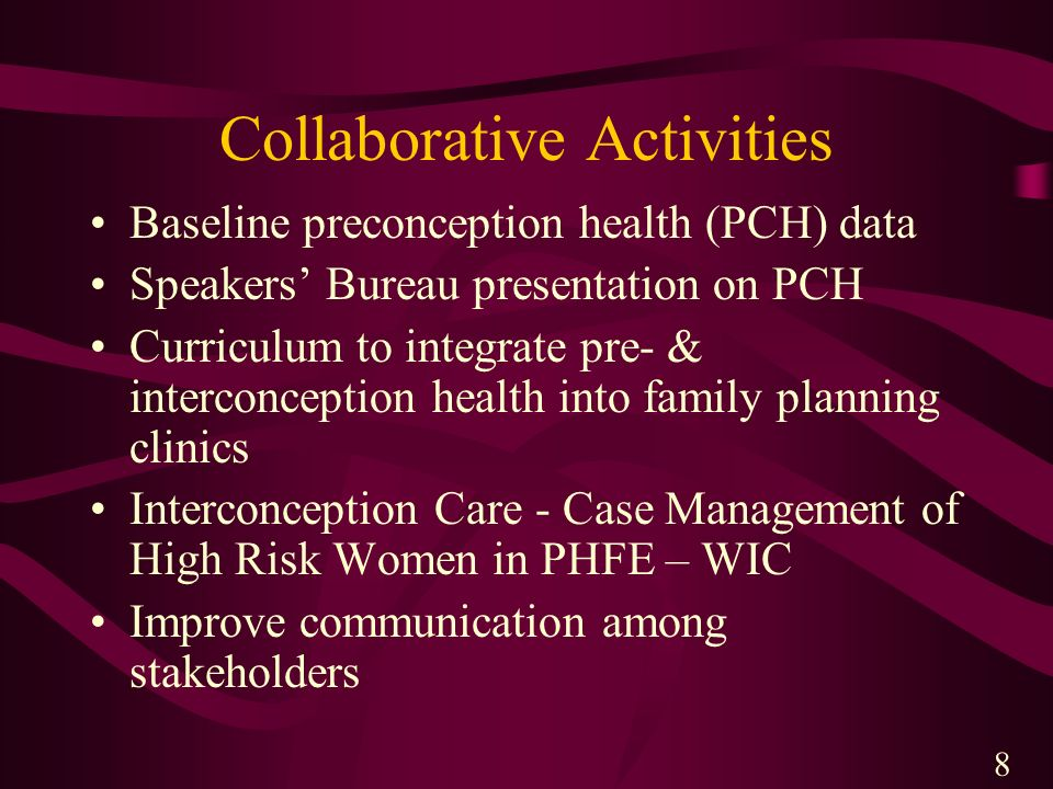 Collaborative Activities Baseline preconception health (PCH) data Speakers Bureau presentation on PCH Curriculum to integrate pre- & interconception h
