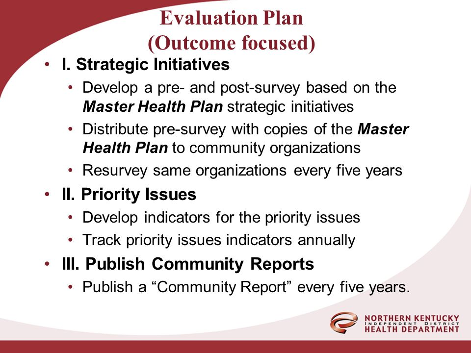 Evaluation Plan (Outcome focused) I.