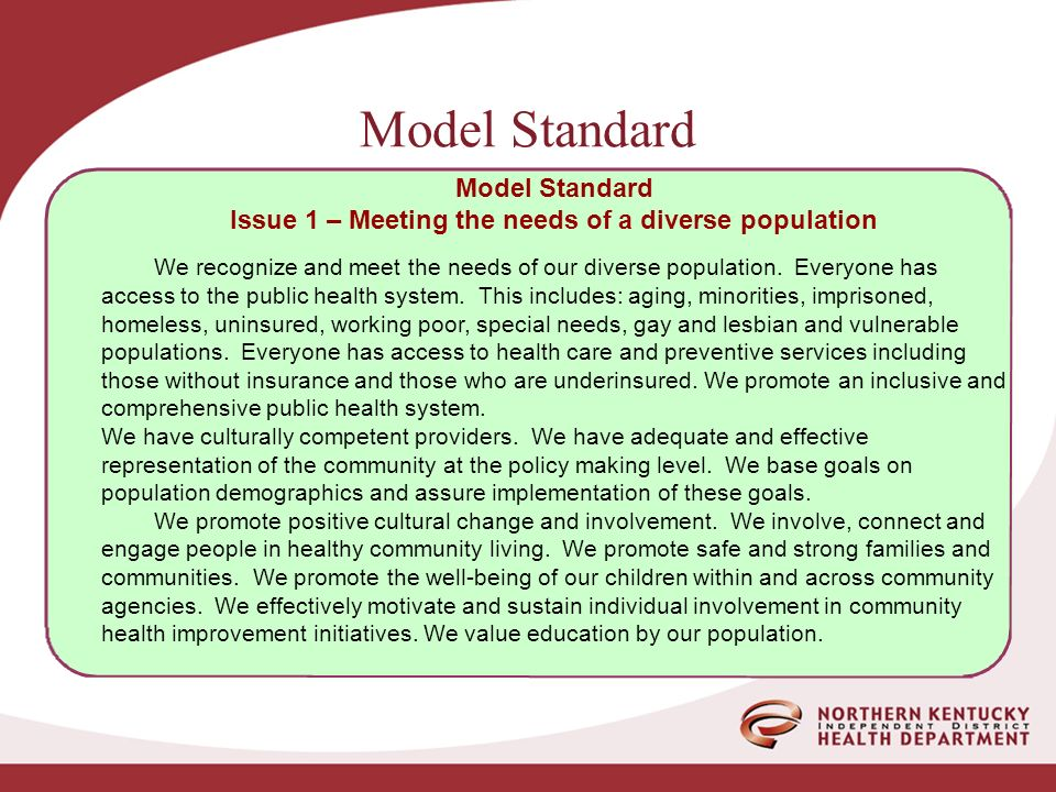 Model Standard Issue 1 – Meeting the needs of a diverse population We recognize and meet the needs of our diverse population.