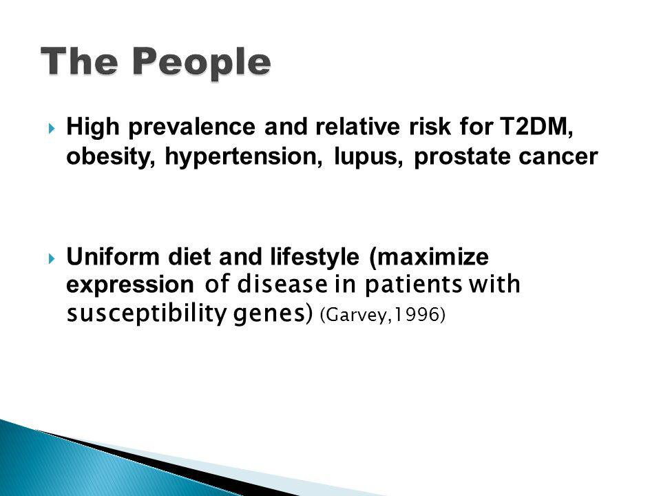 High prevalence and relative risk for T2DM, obesity, hypertension, lupus, prostate cancer Uniform diet and lifestyle (maximize expression of disease in patients with susceptibility genes) (Garvey,1996)