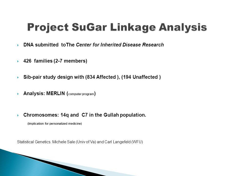DNA submitted toThe Center for Inherited Disease Research 426 families (2-7 members) Sib-pair study design with (834 Affected ), (194 Unaffected ) Analysis: MERLIN ( computer program ) Chromosomes: 14q and C7 in the Gullah population.