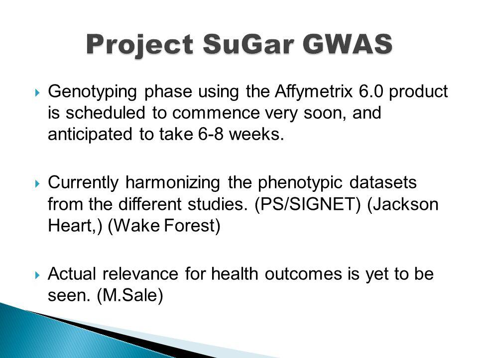 Genotyping phase using the Affymetrix 6.0 product is scheduled to commence very soon, and anticipated to take 6-8 weeks. Currently harmonizing the phe