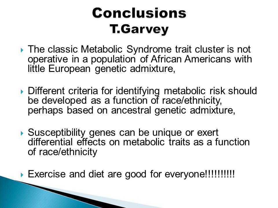 The classic Metabolic Syndrome trait cluster is not operative in a population of African Americans with little European genetic admixture, Different c