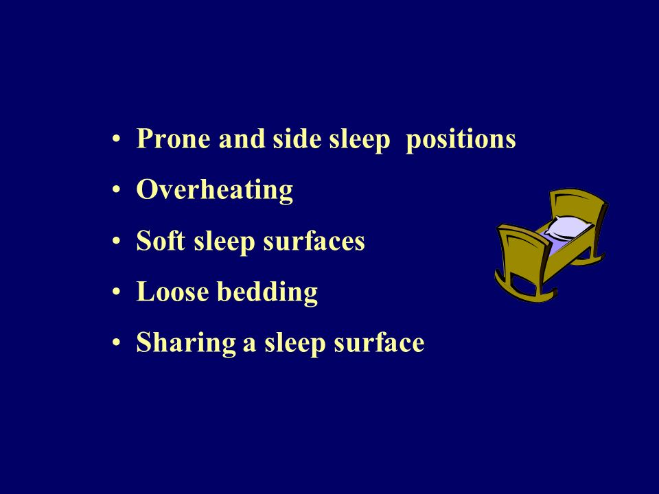 Prone and side sleep positions Overheating Soft sleep surfaces Loose bedding Sharing a sleep surface