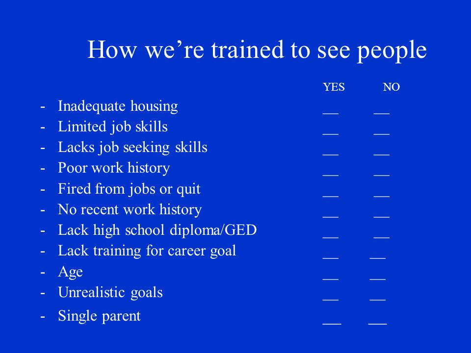 How were trained to see people YES NO -Inadequate housing__ __ -Limited job skills __ __ -Lacks job seeking skills __ __ -Poor work history __ __ -Fired from jobs or quit __ __ -No recent work history __ __ -Lack high school diploma/GED__ __ -Lack training for career goal __ __ -Age__ __ -Unrealistic goals__ __ -Single parent __ __
