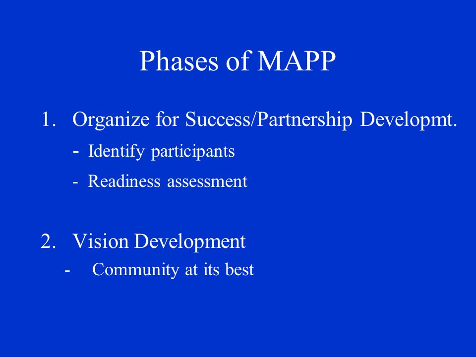 Phases of MAPP 3.Four Assessments -Community Health Status -Community Themes and Strengths -Forces of Change -Local Public Health System