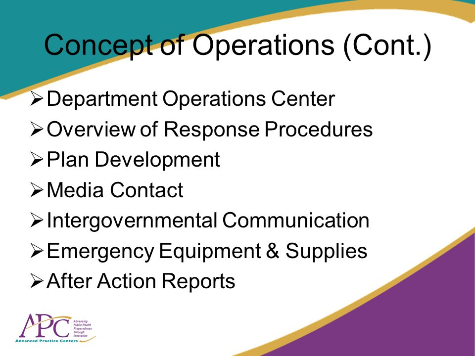 Concept of Operations (Cont.) Department Operations Center Overview of Response Procedures Plan Development Media Contact Intergovernmental Communication Emergency Equipment & Supplies After Action Reports