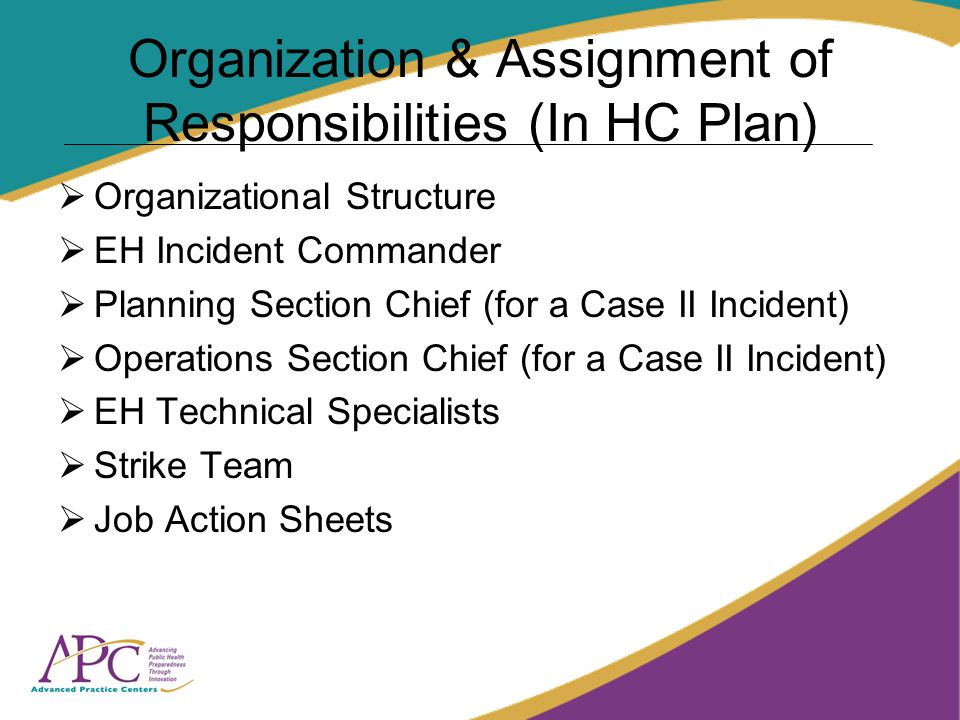 Organization & Assignment of Responsibilities (In HC Plan) Organizational Structure EH Incident Commander Planning Section Chief (for a Case II Incide