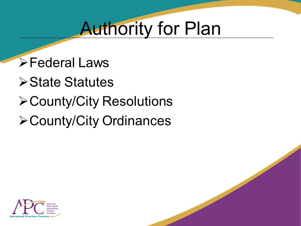 Authority for Plan Federal Laws State Statutes County/City Resolutions County/City Ordinances
