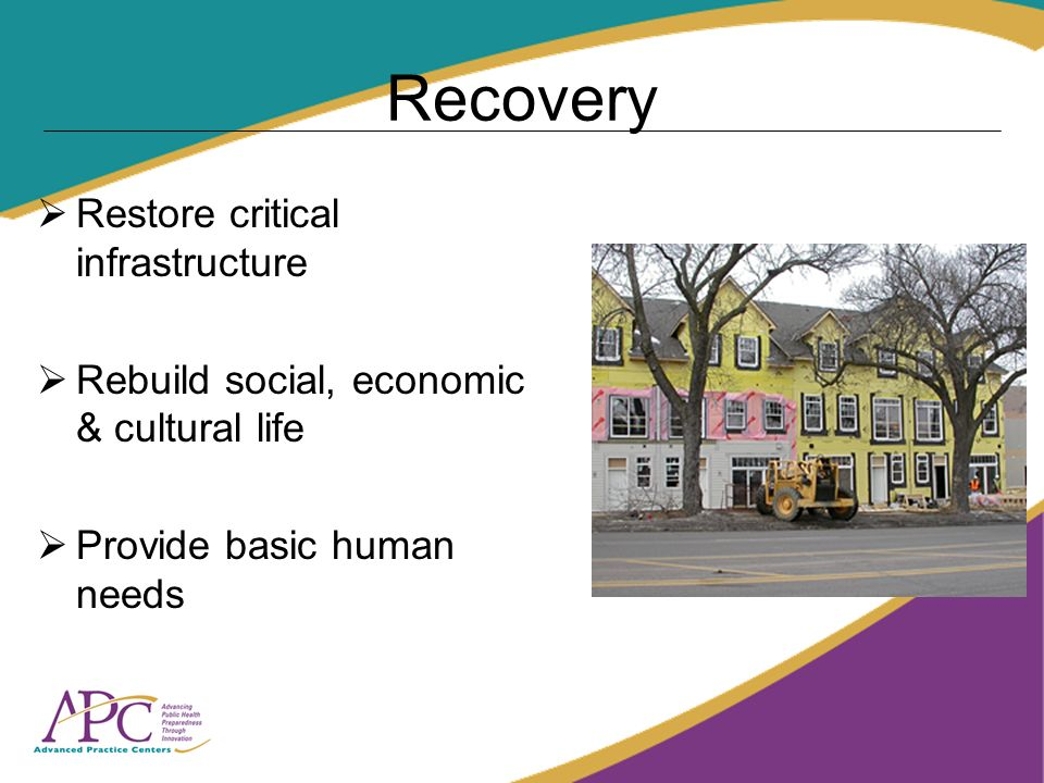Recovery Restore critical infrastructure Rebuild social, economic & cultural life Provide basic human needs