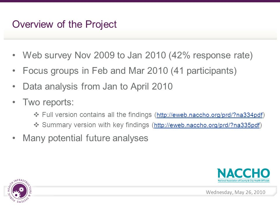 Wednesday, May 26, 2010 Overview of the Project Web survey Nov 2009 to Jan 2010 (42% response rate) Focus groups in Feb and Mar 2010 (41 participants) Data analysis from Jan to April 2010 Two reports: Full version contains all the findings (   na334pdf )   na334pdf Summary version with key findings (   na335pdf )   na335pdf Many potential future analyses