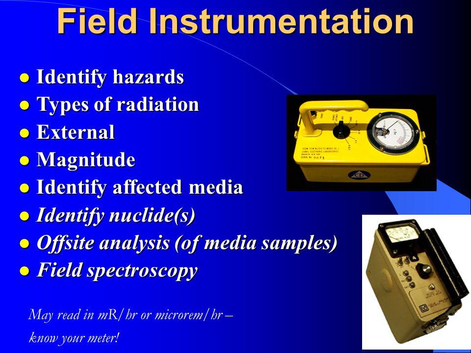 29 Field Instrumentation l Identify hazards l Types of radiation l External l Magnitude l Identify affected media l Identify nuclide(s) l Offsite anal