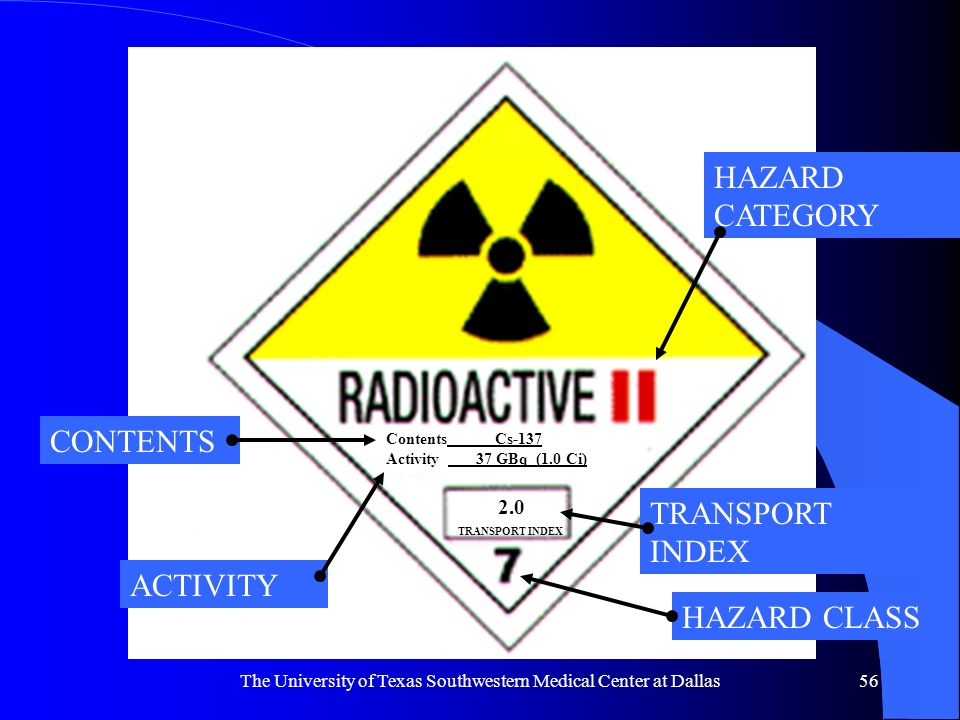 The University of Texas Southwestern Medical Center at Dallas56 Contents Cs-137 Activity 37 GBq (1.0 Ci) TRANSPORT INDEX 2.0 CONTENTS ACTIVITY HAZARD