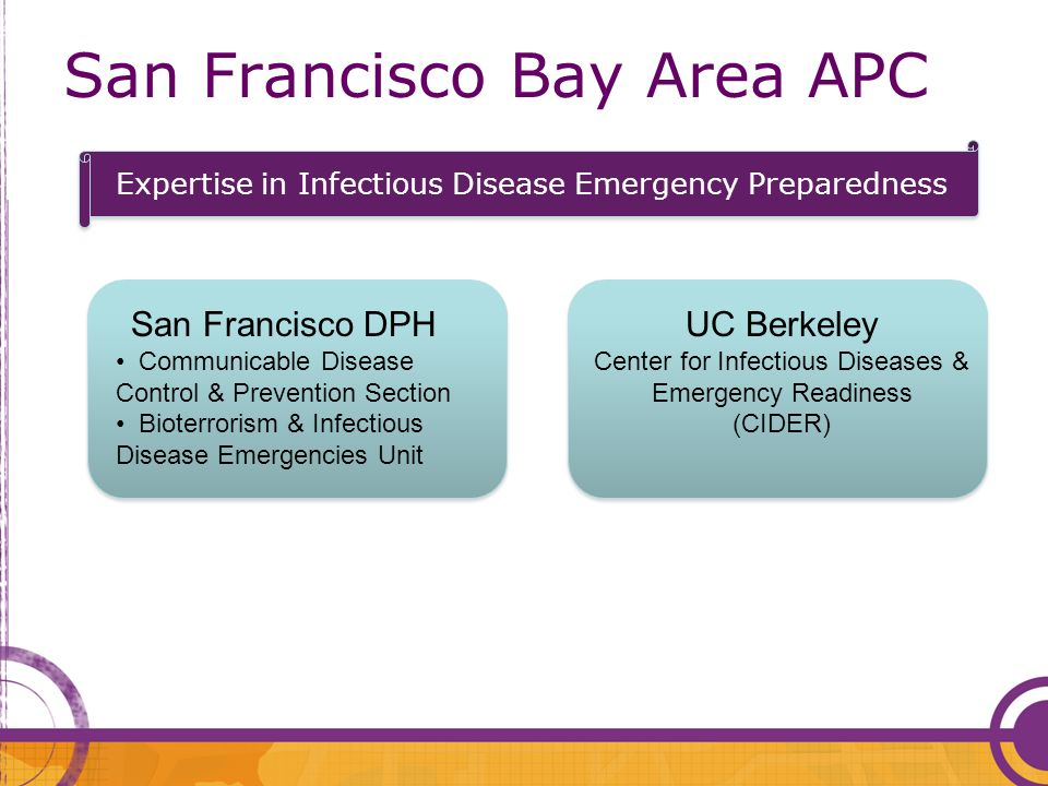San Francisco Bay Area APC San Francisco DPH Communicable Disease Control & Prevention Section Bioterrorism & Infectious Disease Emergencies Unit UC Berkeley Center for Infectious Diseases & Emergency Readiness (CIDER) Expertise in Infectious Disease Emergency Preparedness