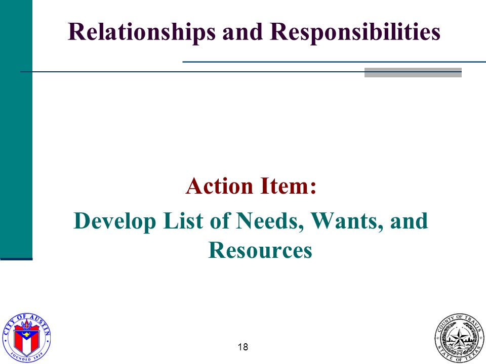 18 Relationships and Responsibilities Action Item: Develop List of Needs, Wants, and Resources