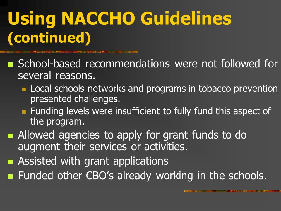 The table on the previous slide shows the format used annually to ask for the funds.