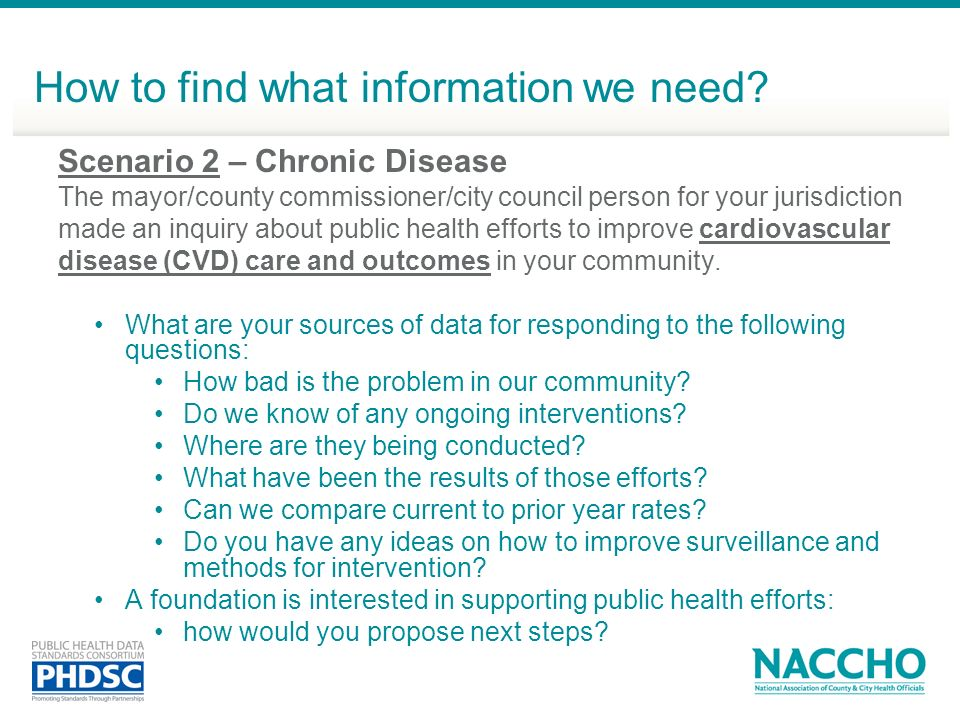 Scenario 2 – Chronic Disease The mayor/county commissioner/city council person for your jurisdiction made an inquiry about public health efforts to im
